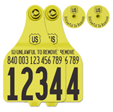 Official USDA '840' Tamper Evident Cattle Visual Matched Pair Tag Set (Destron Fearing) - Extra Large